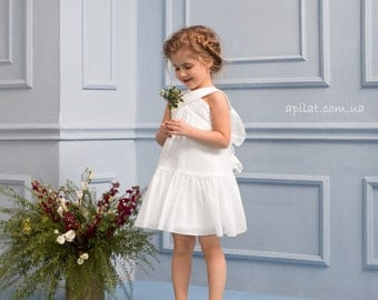 """Ivory Flower Girl Dress """"Butterfly"""" with Bow , Handwork Girl Dress B2, Birthday Girl Dress, First Communion Dress, Special-Occasion dress"""