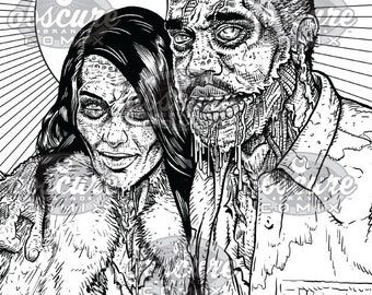 "Digital Zombie Coloring Page - KIM & KANYE - ""Oh You Kids!"""