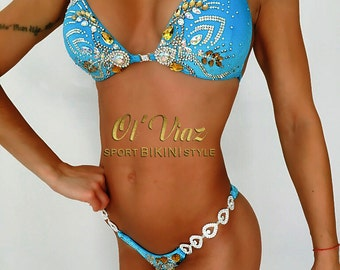 Sky Blue Velvet Bikini Suit with Crystals/Competition Suit/Posing Suit/Rhinestone Fitness