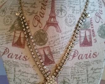 Vintage Rhinestone and Teardrop Pendant Necklace