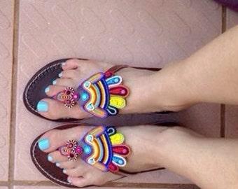 maasai sandals/tribal sandal/beaded sandal / colorful sandals / leather sandals