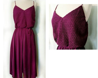 70s Sundress with Handkerchief Hem and Lace Bodice in Eggplant