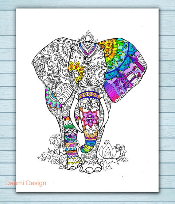 Printable Mandala Elephant Coloring