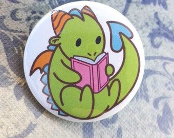 Button - Tiny Green Dragon Reading a Good Book!