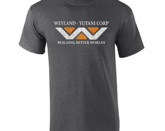 Weyland Industries logo scary movie halloween aliens cult classic costume horror vintage retro - Apparel Clothing - Mens T-shirt - 008