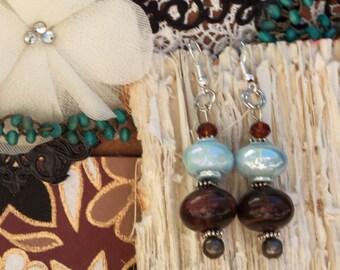 Beaded Earrings/ 50% off Sale Earrings / one of a kind  earrings/ Earthy and angelic