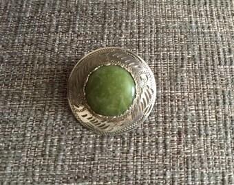 Vintage Ward Brothers Scottish Stirling Silver Agate Brooch
