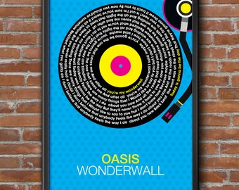 Oasis Wonderwall Song Lyrics Wall Art Poster Print. 4 Sizes Available