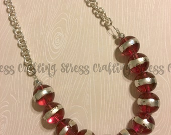 Hot Pink Glass Beaded Necklace with Embellished Clasp