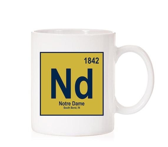 Notre Dame University Periodic Style Mug | Notre Dame Fighting Irish | South Bend IN |  ND | Light Theme