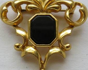 Vintage Avon Brooch Genuine Onyx and Pearl Accent Avon Brooch Avon Pin Vintage Jewelry Costume Jewelry Vintage Pin 1995 Avon Brooch Jewelry