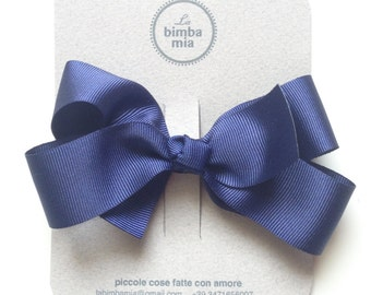 Moletta Blue grosgrain Ribbon snowflake-Grosgrain Ribbon Hair Bow