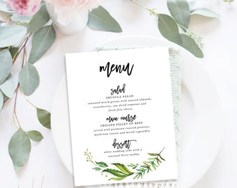 Printable Wedding Menu / Menu Cards, Wedding Menu Printable, Printable Menu - Monogram Wreath Suite