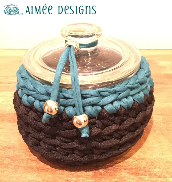 Sporty Teal - crochet bowl - black & teal / dark turquoise - basket - T-Shirt yarn - storage for headphones - desk organizer