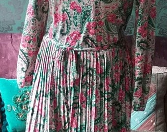 Vintage 70's Paisley Day Dress Size 10