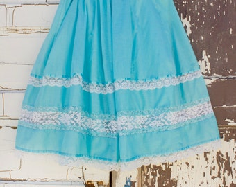 vintage womens western skirt turquoise & lace by Carefree Fashoins Size XL