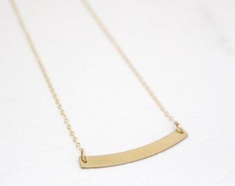 Gold Curved Bar Necklace, Rose Gold Bar Necklace Custom, Nameplate Necklace, Personalized Gift for Mom Jewelry, Rose Gold Filled Necklace