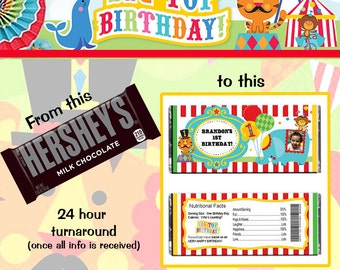 Fisher Price Circus 1st Birthday Hershey Wrapper File