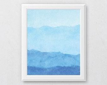 Ombre Blue Art Print, Bathroom Wall Art, Winter Art Print, Abstract Watercolor Art, Modern Decor, Coastal Wall Art, Abstract Art Print, Home
