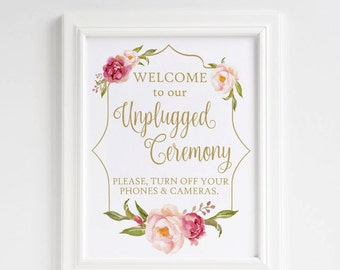 Unplugged Wedding sign, Unplugged Ceremony Sign, No cell phones sign, No cameras wedding, Blush gold wedding, Floral wedding decor