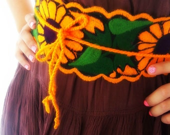 Sunflowers Mexican Embroidered Belt