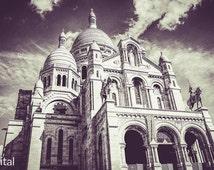 Sacre Coeur, Paris, photography, creative, vintage, wall decoration, decoration, street art, black white, landmark, art, fodeo