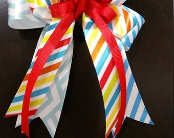 Hair Bow - Blue, Yellow and Red satin ribbon- Equestrian Show Bow