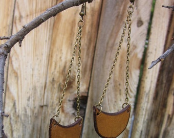 Antiqued Leather & Brass Earrings