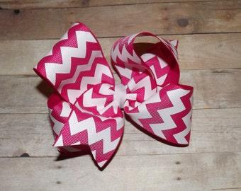 "6"" Hot Pink Chevron Print Boutique Hair Bow"
