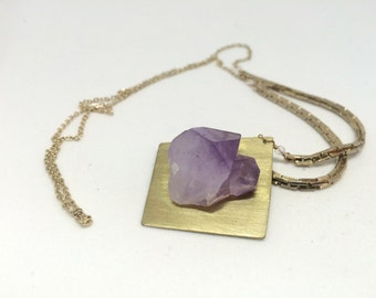 Brass Amethyst Pendant Necklace