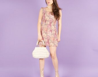 90s does 60s Floral Mini Tapestry Dress