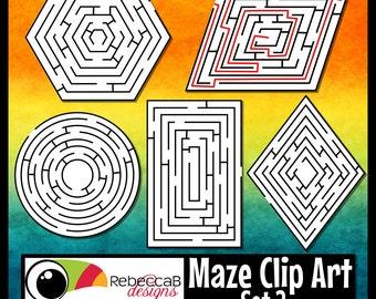 Maze Clip Art Set 2: 2D Shapes, Mazes and Solutions Clip Art