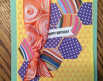Happy Birthday - Yellow Hexagon