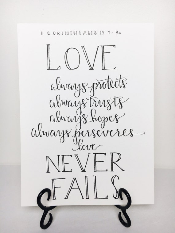 Items similar to love never fails calligraphy print