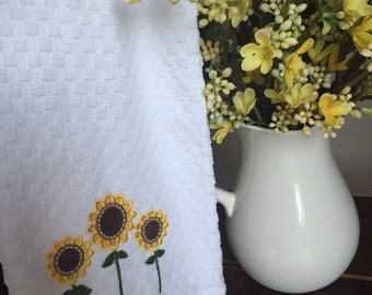 Three Sunflower Applique Embroidery Kitchen Towel WITH or WITHOUT Personalization