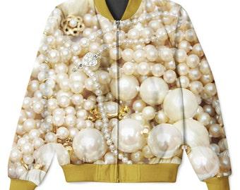 Pearls Sublimation Front & Back Printed Zip Up Hip Hop Jacket