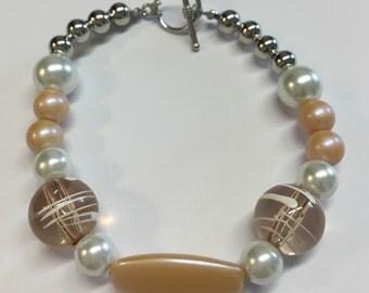 Peach White & Silver Bracelet Toggle Clasp