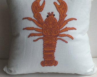 Coastal Nautical Lobster Decorative Pillow Cover, White & Orange, Hand Made, 20x20, insert included