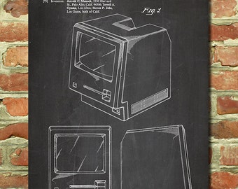 Vintage Macintosh Apple Computer Poster, Mac Apple Computer Patent Steve Jobs Poster Gift for Apple Fan Gift for Geek Gift Apple Art P087