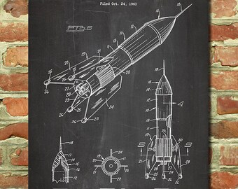 Rocket Ship Art Decor, Outer Space Decor, Outer Space Theme, NASA Poster, Astronaut Art, Spaceship, Science Poster, Patent Print Gift P191