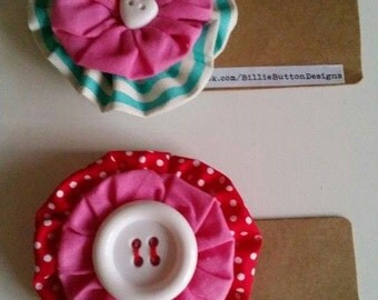 "Cute ""Raspberry Beret"" fabric and button hair clip.  Handmade and made to order."