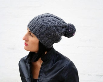 Slouchy beanie hat with pom pom Knitted hat Winter cap Slouchy hat Gray beanie
