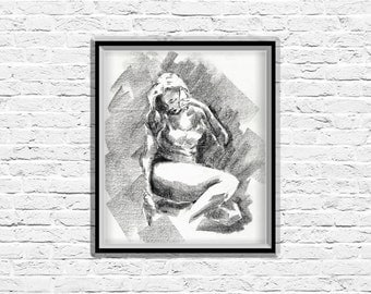 Figure Art, Charcoal Drawing, Contemporary Art, Woman Painting, Wall Hanging, Body Art, Black and White, Original Art, Bathroom Wall Art