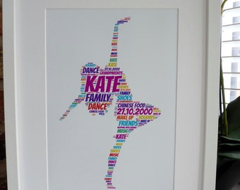 Personalised Dancer Print, Personalised Dancer Print,  Dance Print, Unframed Print, Word Art Print