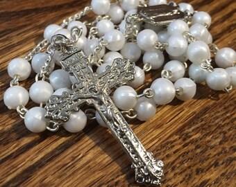 Vintage white beaded rosary, Santuario Da Esperanza, silver rosary