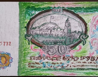 Portrait of a bill 50 Soviet rubles, Oil pastel drawing.
