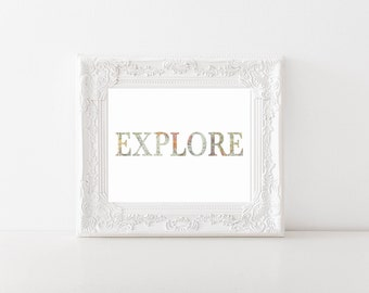Explore World Map Printable, Digital Printable