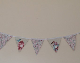 floral and birds fabric bunting