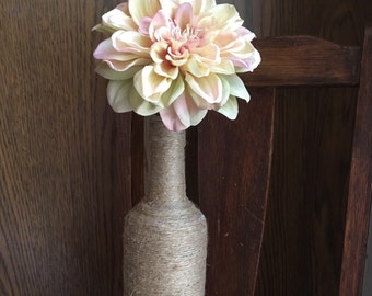 Decorative Twined Wine Bottle, Pink Flower Wine Bottle, Wine Bottle Decor, Light Pink Flower Centerpiece