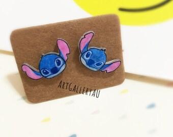 Disney Stitch Handmade Stud Earrings, Cute Kawaii Cartoon Character Studs, Gift for Her